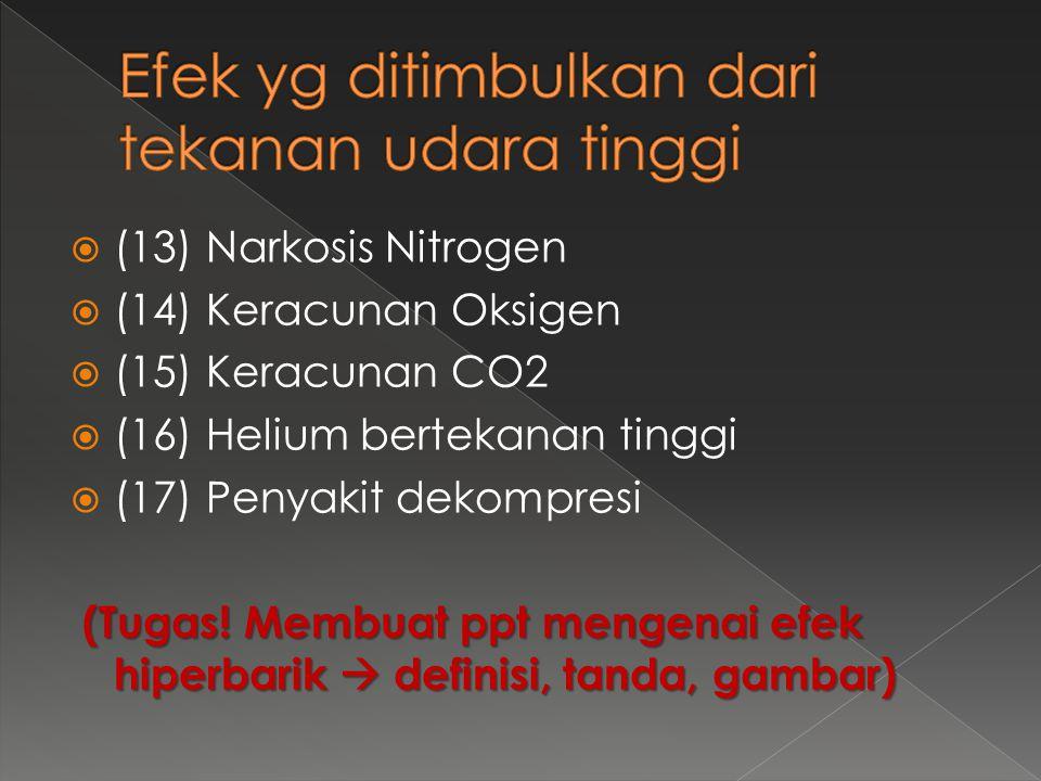  (13) Narkosis Nitrogen  (14) Keracunan Oksigen  (15) Keracunan CO2  (16) Helium bertekanan tinggi  (17) Penyakit dekompresi (Tugas! Membuat ppt