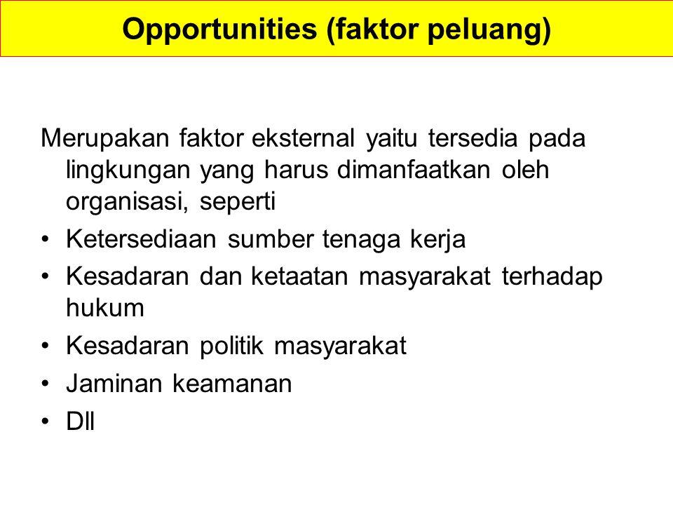 Opportunities (faktor peluang) Merupakan faktor eksternal yaitu tersedia pada lingkungan yang harus dimanfaatkan oleh organisasi, seperti Ketersediaan