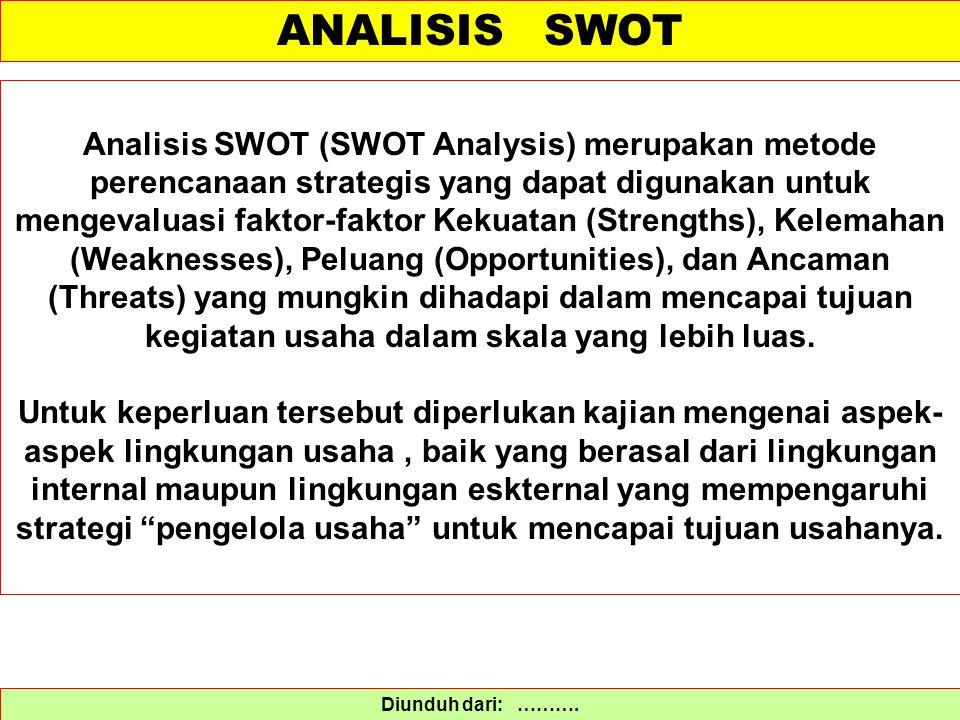 ANALISIS SWOT Diunduh dari: ………. Analisis SWOT (SWOT Analysis) merupakan metode perencanaan strategis yang dapat digunakan untuk mengevaluasi faktor-f