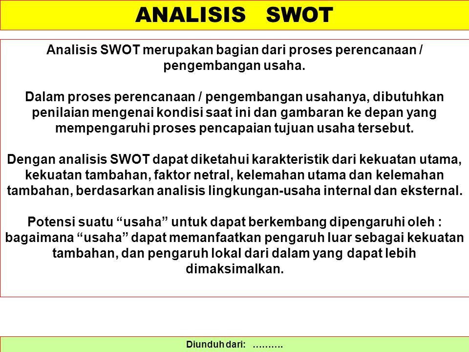 ANALISIS SWOT Diunduh dari: ………. Analisis SWOT merupakan bagian dari proses perencanaan / pengembangan usaha. Dalam proses perencanaan / pengembangan