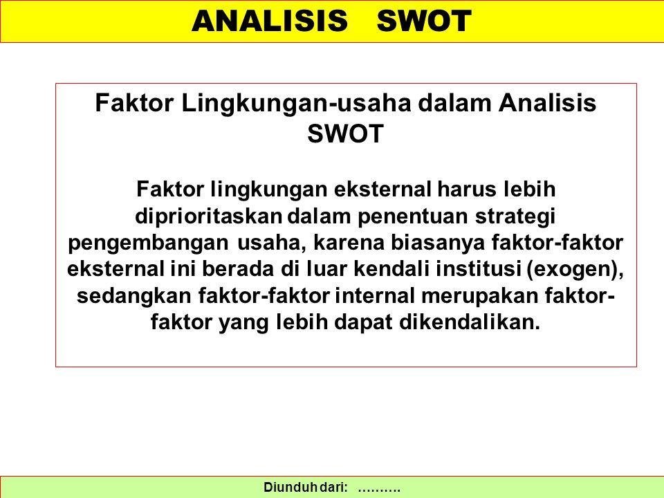 ANALISIS SWOT Diunduh dari: ………. Faktor Lingkungan-usaha dalam Analisis SWOT Faktor lingkungan eksternal harus lebih diprioritaskan dalam penentuan st
