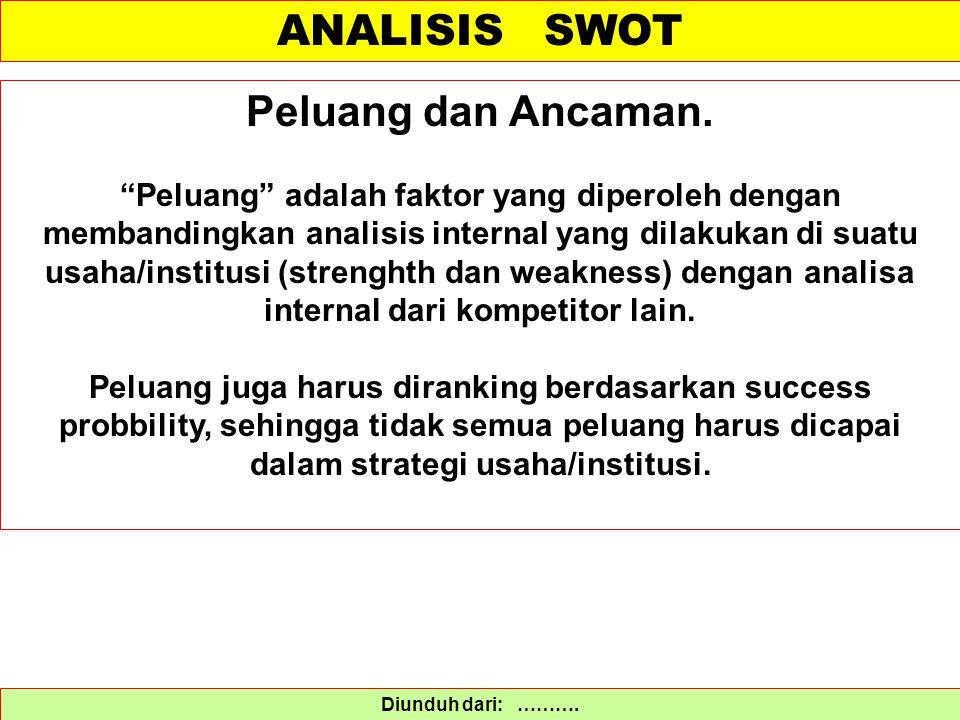 """ANALISIS SWOT Diunduh dari: ………. Peluang dan Ancaman. """"Peluang"""" adalah faktor yang diperoleh dengan membandingkan analisis internal yang dilakukan di"""