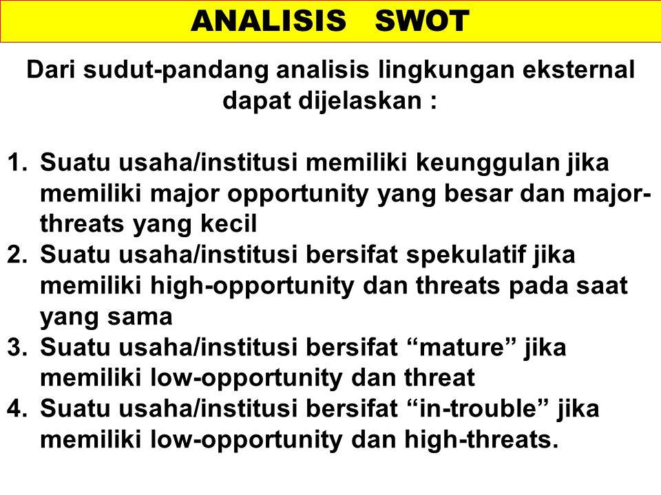 ANALISIS SWOT Dari sudut-pandang analisis lingkungan eksternal dapat dijelaskan : 1.Suatu usaha/institusi memiliki keunggulan jika memiliki major oppo