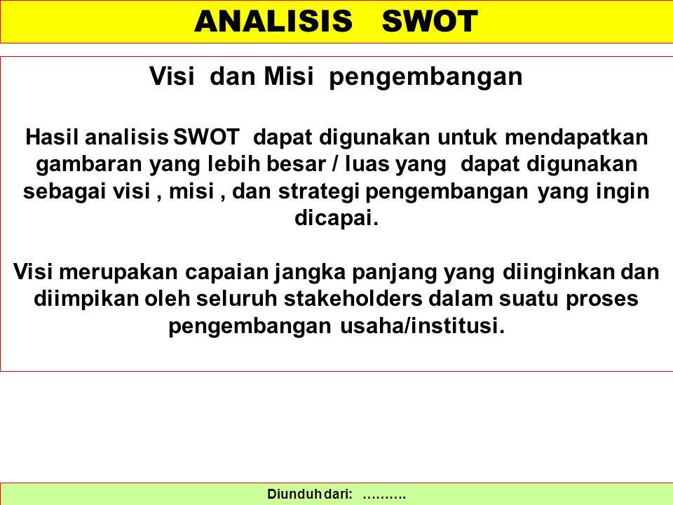 ANALISIS SWOT Diunduh dari: ………. Visi dan Misi pengembangan Hasil analisis SWOT dapat digunakan untuk mendapatkan gambaran yang lebih besar / luas yan