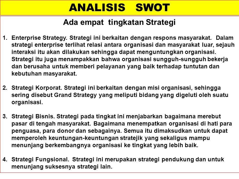 Ada empat tingkatan Strategi 1.Enterprise Strategy. Strategi ini berkaitan dengan respons masyarakat. Dalam strategi enterprise terlihat relasi antara
