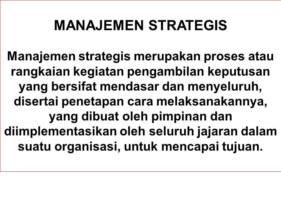 MANAJEMEN STRATEGIS Manajemen strategis merupakan proses atau rangkaian kegiatan pengambilan keputusan yang bersifat mendasar dan menyeluruh, disertai