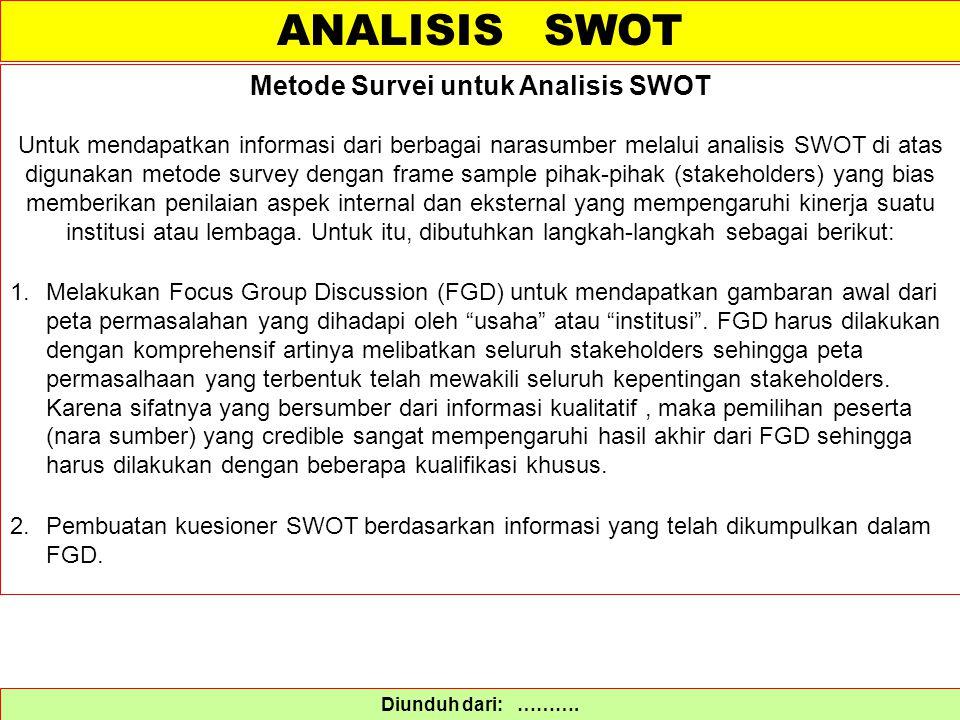 Diunduh dari: ………. Metode Survei untuk Analisis SWOT Untuk mendapatkan informasi dari berbagai narasumber melalui analisis SWOT di atas digunakan meto