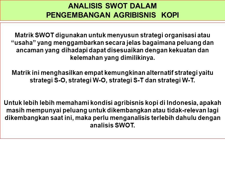 """ANALISIS SWOT DALAM PENGEMBANGAN AGRIBISNIS KOPI Matrik SWOT digunakan untuk menyusun strategi organisasi atau """"usaha"""" yang menggambarkan secara jelas"""