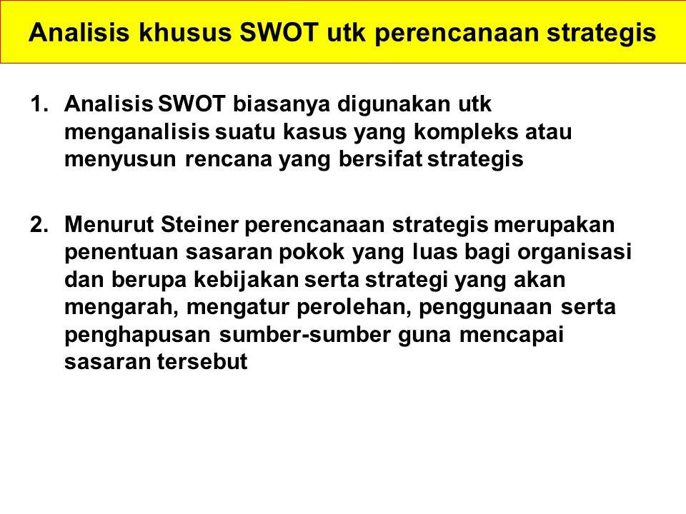 Analisis khusus SWOT utk perencanaan strategis 1.Analisis SWOT biasanya digunakan utk menganalisis suatu kasus yang kompleks atau menyusun rencana yan