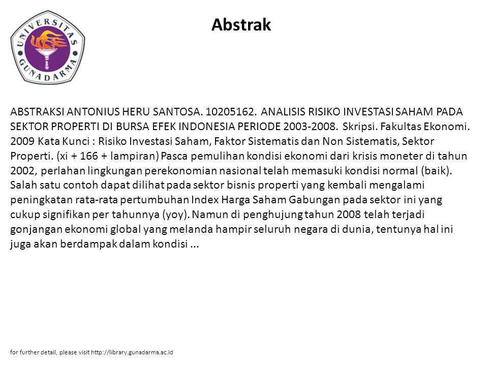 Abstrak ABSTRAKSI ANTONIUS HERU SANTOSA. 10205162.