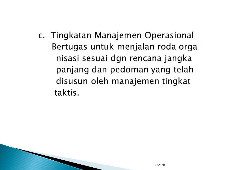 b. Tingkatan Manajemen Taktis : Bertugas untuk menterjemahkan kebijakan strategis menjadi bagian- bagian yang harus dikerjakan serta mengatur koordina