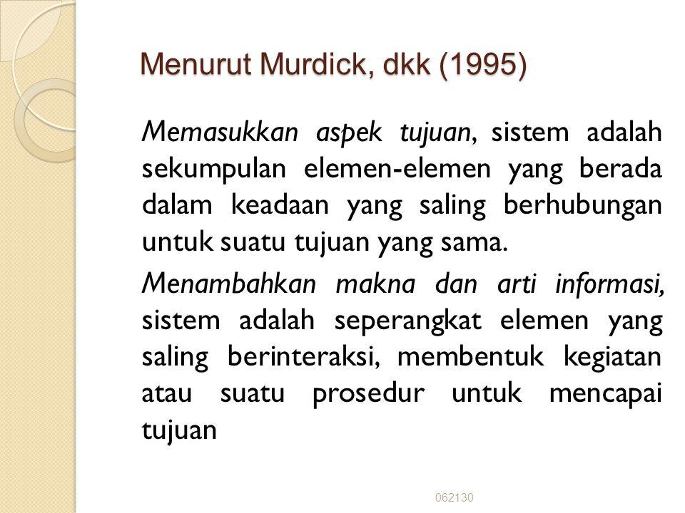 Menurut Robert dan Michael (1991) : Menurut Robert dan Michael (1991) : Sistem adalah suatu kumpulan dari elemen yang saling berinteraksi membentuk su