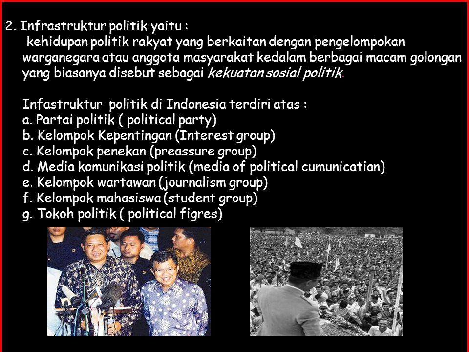 2. Infrastruktur politik yaitu : kehidupan politik rakyat yang berkaitan dengan pengelompokan warganegara atau anggota masyarakat kedalam berbagai mac