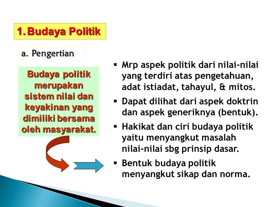 1.Budaya Politik a.Pengertian Budaya politik merupakan sistem nilai dan keyakinan yang dimiliki bersama oleh masyarakat. MMrp aspek politik dari nil