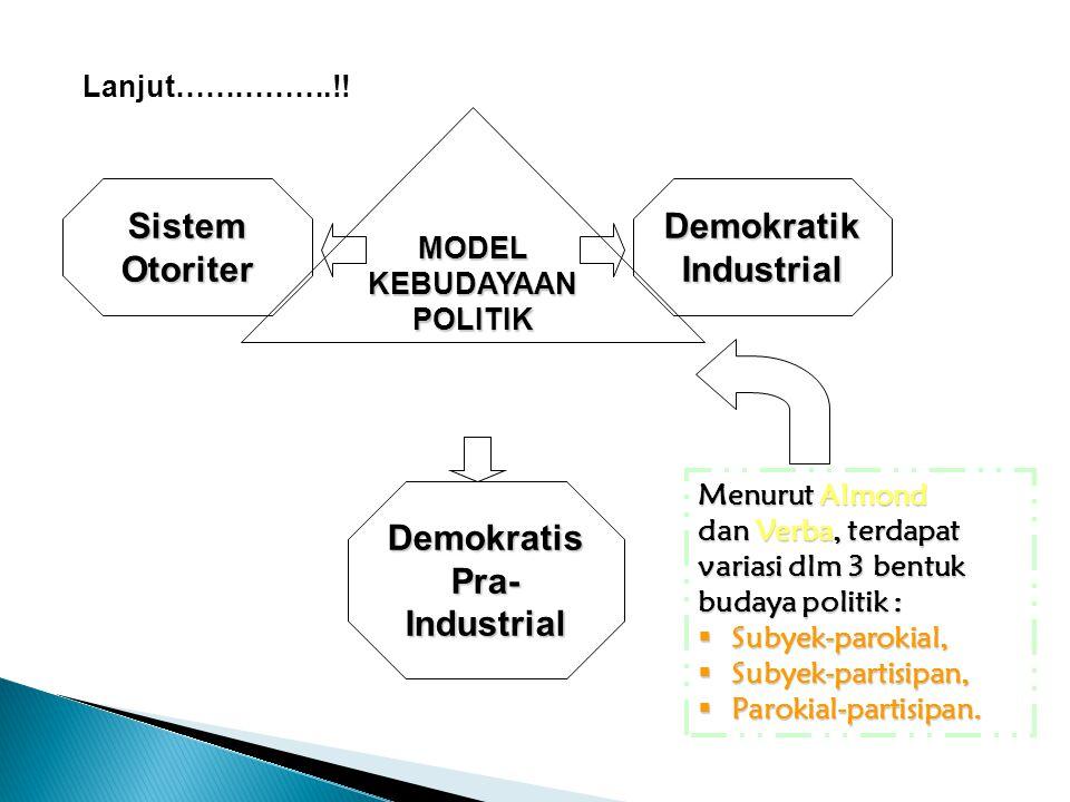 Lanjut…………….!! MODEL KEBUDAYAAN POLITIK Demokratik Industrial Sistem Otoriter Demokratis Pra- Industrial Menurut Almond dan Verba, terdapat variasi dl