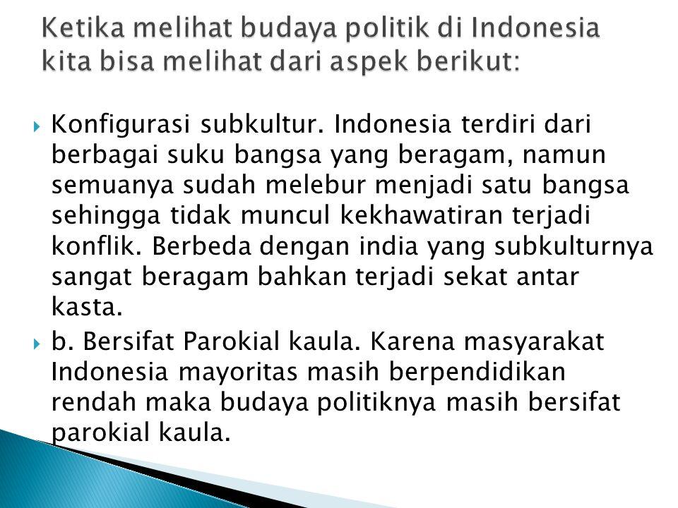  Konfigurasi subkultur. Indonesia terdiri dari berbagai suku bangsa yang beragam, namun semuanya sudah melebur menjadi satu bangsa sehingga tidak mun