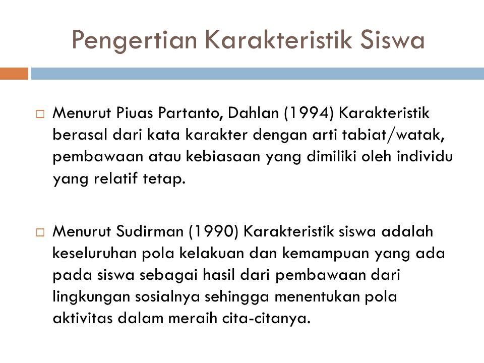 Pengertian Karakteristik Siswa  Menurut Piuas Partanto, Dahlan (1994) Karakteristik berasal dari kata karakter dengan arti tabiat/watak, pembawaan at