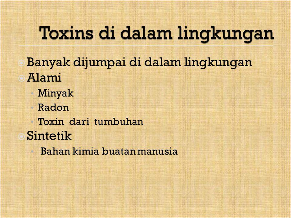  Banyak dijumpai di dalam lingkungan  Alami Minyak Radon Toxin dari tumbuhan  Sintetik Bahan kimia buatan manusia