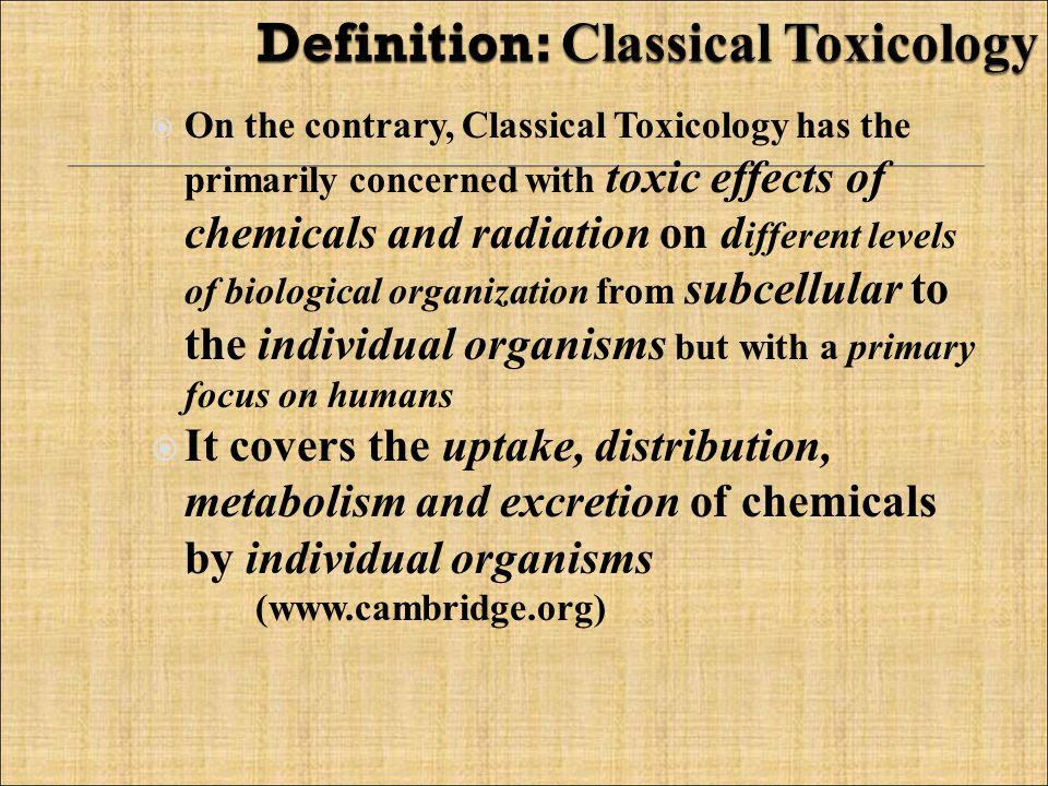 Toksikologi lingkungan Mengkaji secara spesifik bahan-bahan beracun yang berasal dari lingkungan atau zat buangan ke lingkungan.