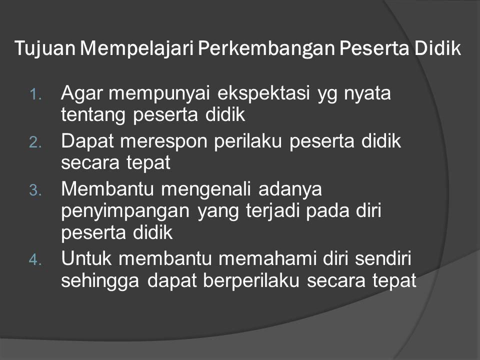 Tujuan Mempelajari Perkembangan Peserta Didik 1.