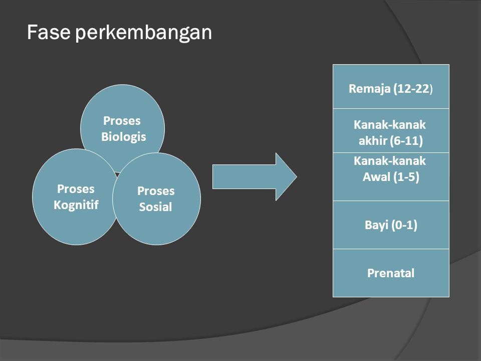 Fase perkembangan Proses Biologis Proses Kognitif Proses Sosial Remaja (12-22 ) Kanak-kanak akhir (6-11) Kanak-kanak Awal (1-5) Bayi (0-1) Prenatal