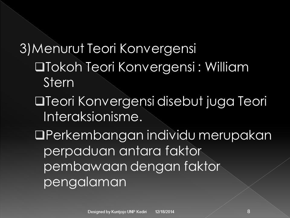 3)Menurut Teori Konvergensi TTokoh Teori Konvergensi : William Stern TTeori Konvergensi disebut juga Teori Interaksionisme.
