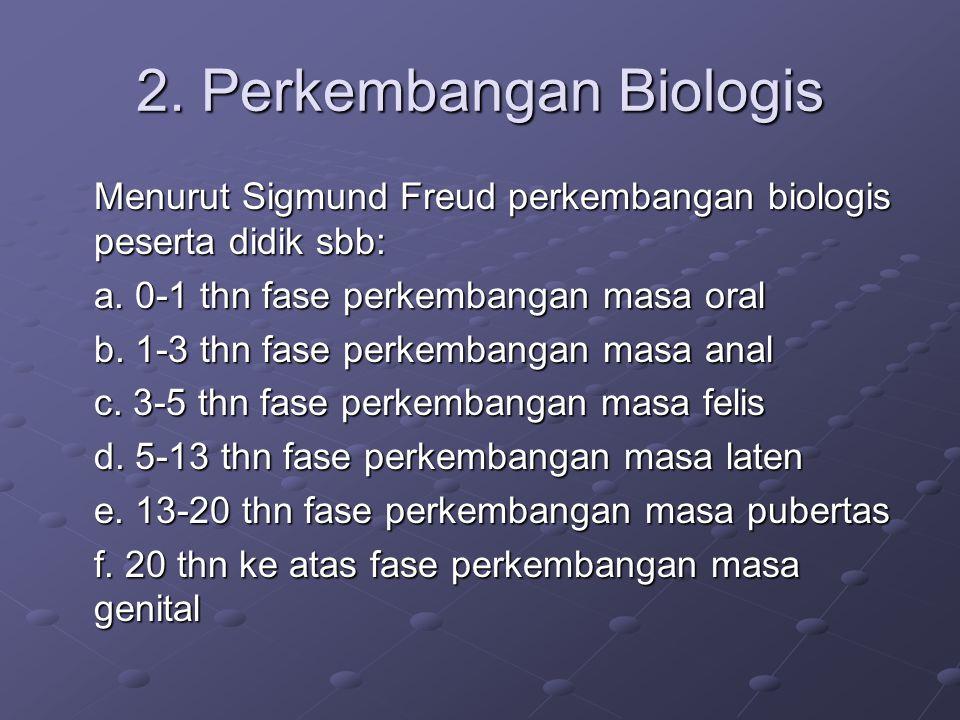 2. Perkembangan Biologis Menurut Sigmund Freud perkembangan biologis peserta didik sbb: a.