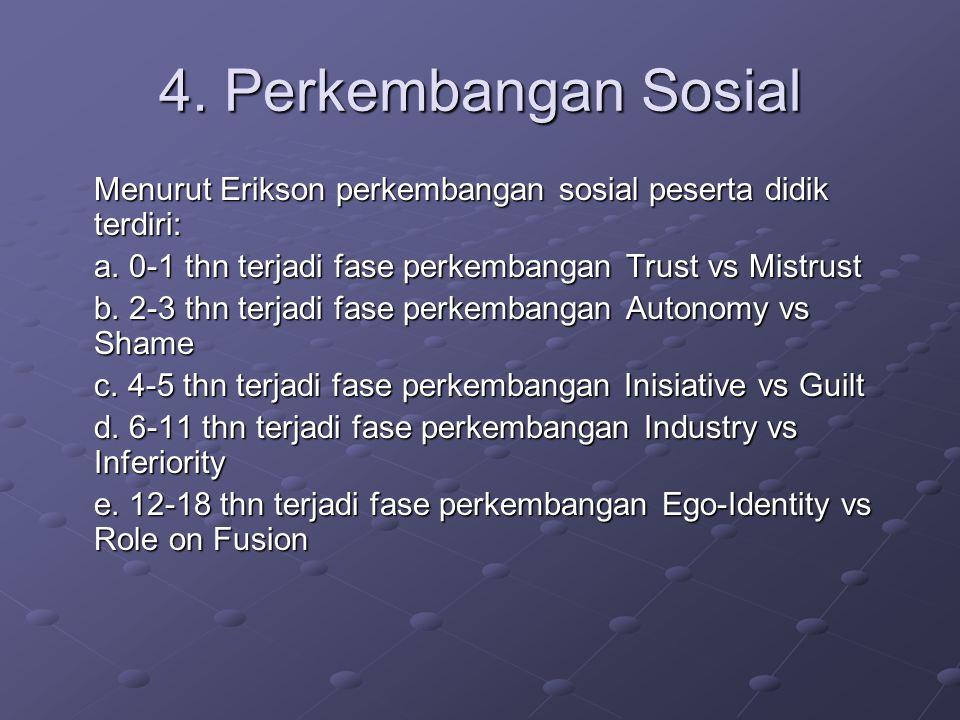4. Perkembangan Sosial Menurut Erikson perkembangan sosial peserta didik terdiri: a.