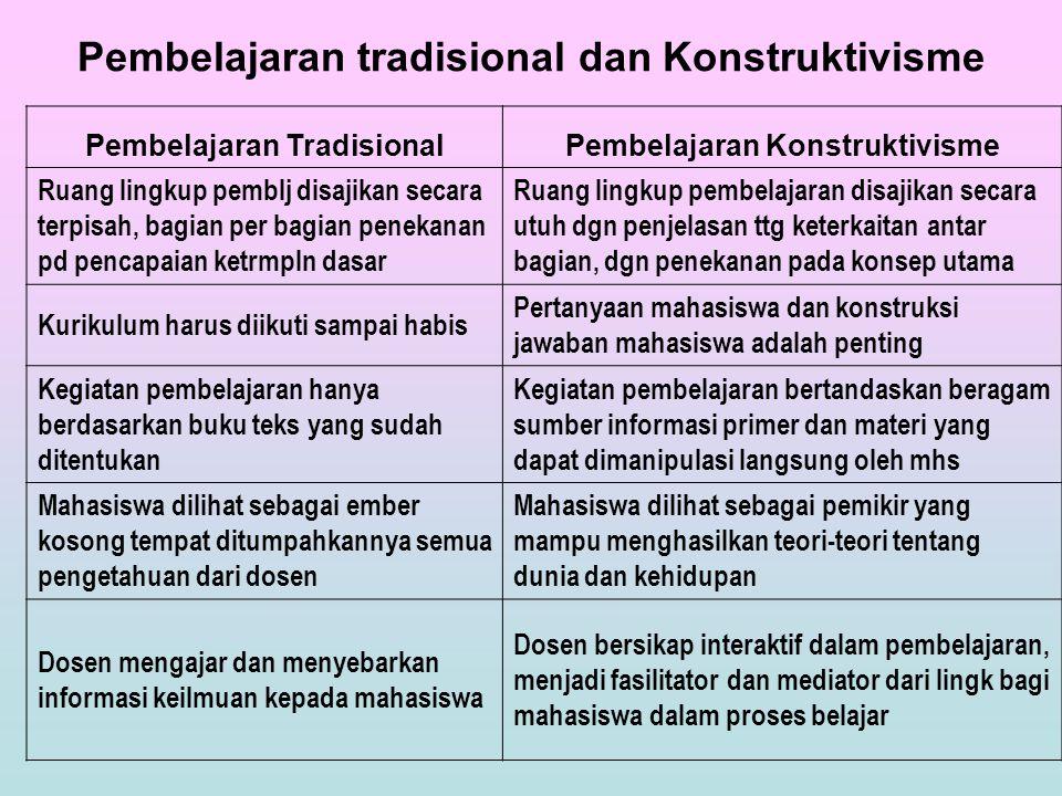 Pembelajaran tradisional dan Konstruktivisme Pembelajaran TradisionalPembelajaran Konstruktivisme Ruang lingkup pemblj disajikan secara terpisah, bagi