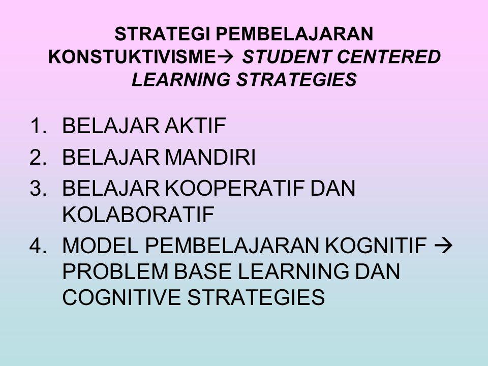 STRATEGI PEMBELAJARAN KONSTUKTIVISME  STUDENT CENTERED LEARNING STRATEGIES 1.BELAJAR AKTIF 2.BELAJAR MANDIRI 3.BELAJAR KOOPERATIF DAN KOLABORATIF 4.M