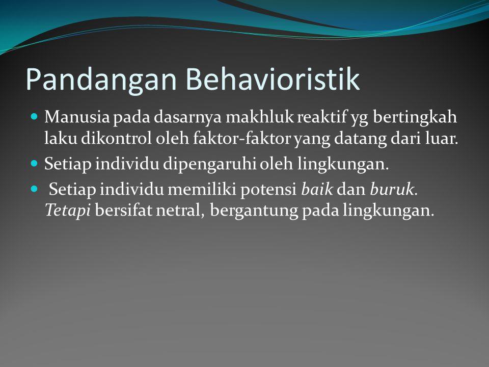 Pandangan Behavioristik Manusia pada dasarnya makhluk reaktif yg bertingkah laku dikontrol oleh faktor-faktor yang datang dari luar.