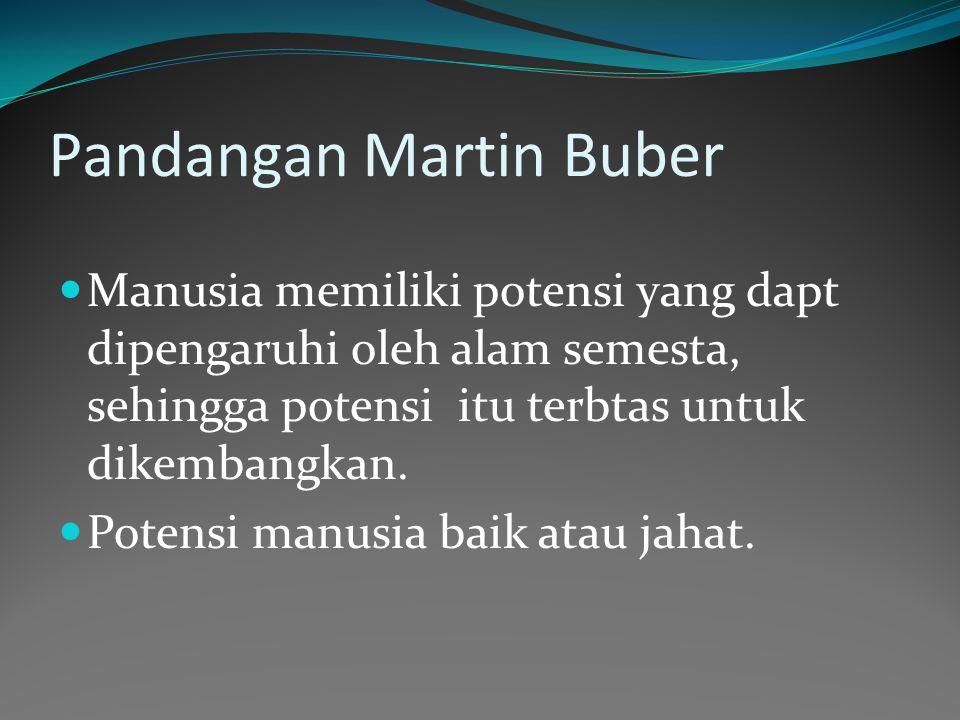 Pandangan Martin Buber Manusia memiliki potensi yang dapt dipengaruhi oleh alam semesta, sehingga potensi itu terbtas untuk dikembangkan.
