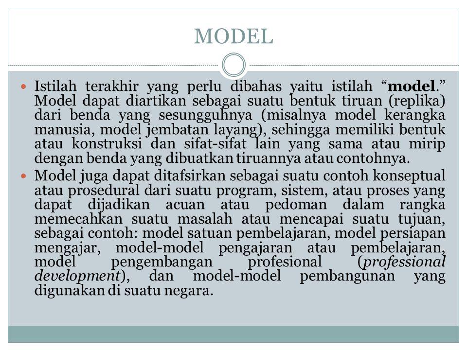 Pengertian Pendekatan, Strategi, dan Model Pembelajaran Raka Joni (1980) berpendapat bahwa strategi adalah pola umum perbuatan guru-siswa di dalam perwujudan kegiatan belajar mengajar.