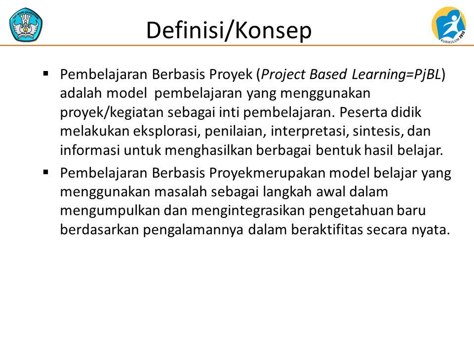  Pembelajaran Berbasis Proyek (Project Based Learning=PjBL) adalah model pembelajaran yang menggunakan proyek/kegiatan sebagai inti pembelajaran. Pes