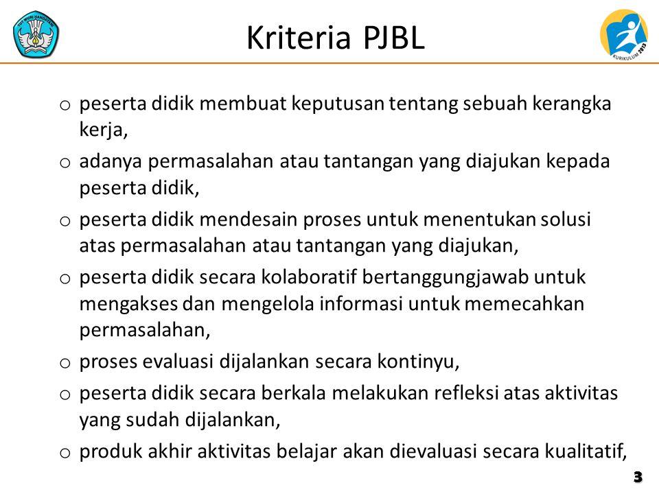 Kriteria PJBL o peserta didik membuat keputusan tentang sebuah kerangka kerja, o adanya permasalahan atau tantangan yang diajukan kepada peserta didik