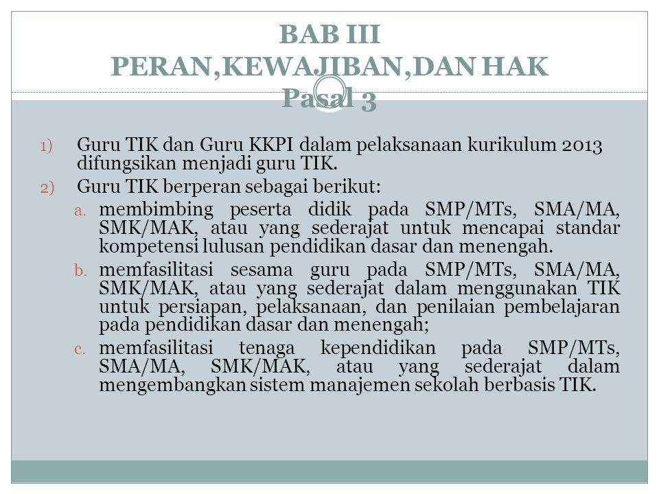 BAB III PERAN,KEWAJIBAN,DAN HAK Pasal 3 1) Guru TIK dan Guru KKPI dalam pelaksanaan kurikulum 2013 difungsikan menjadi guru TIK. 2) Guru TIK berperan