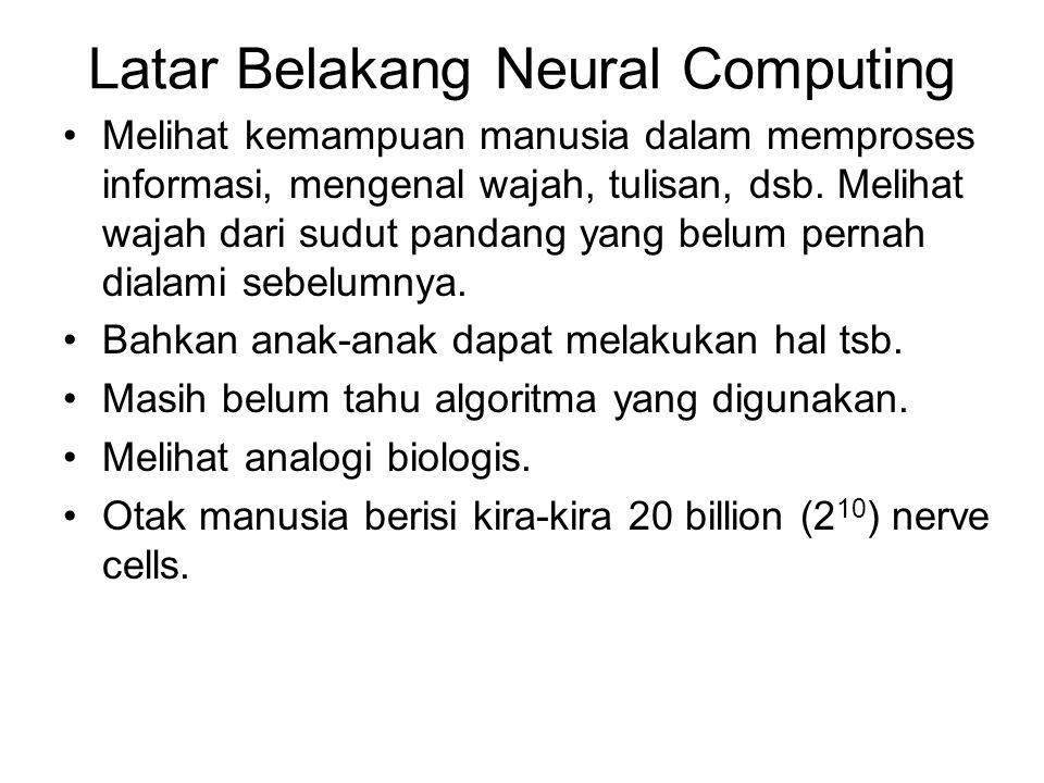 Latar Belakang Neural Computing Melihat kemampuan manusia dalam memproses informasi, mengenal wajah, tulisan, dsb.