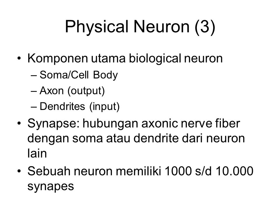 Physical Neuron (3) Komponen utama biological neuron –Soma/Cell Body –Axon (output) –Dendrites (input) Synapse: hubungan axonic nerve fiber dengan soma atau dendrite dari neuron lain Sebuah neuron memiliki 1000 s/d 10.000 synapes