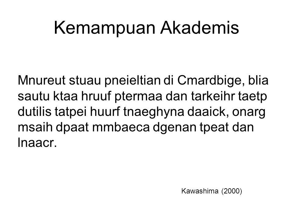 Kemampuan Akademis Mnureut stuau pneieltian di Cmardbige, blia sautu ktaa hruuf ptermaa dan tarkeihr taetp dutilis tatpei huurf tnaeghyna daaick, onarg msaih dpaat mmbaeca dgenan tpeat dan lnaacr.
