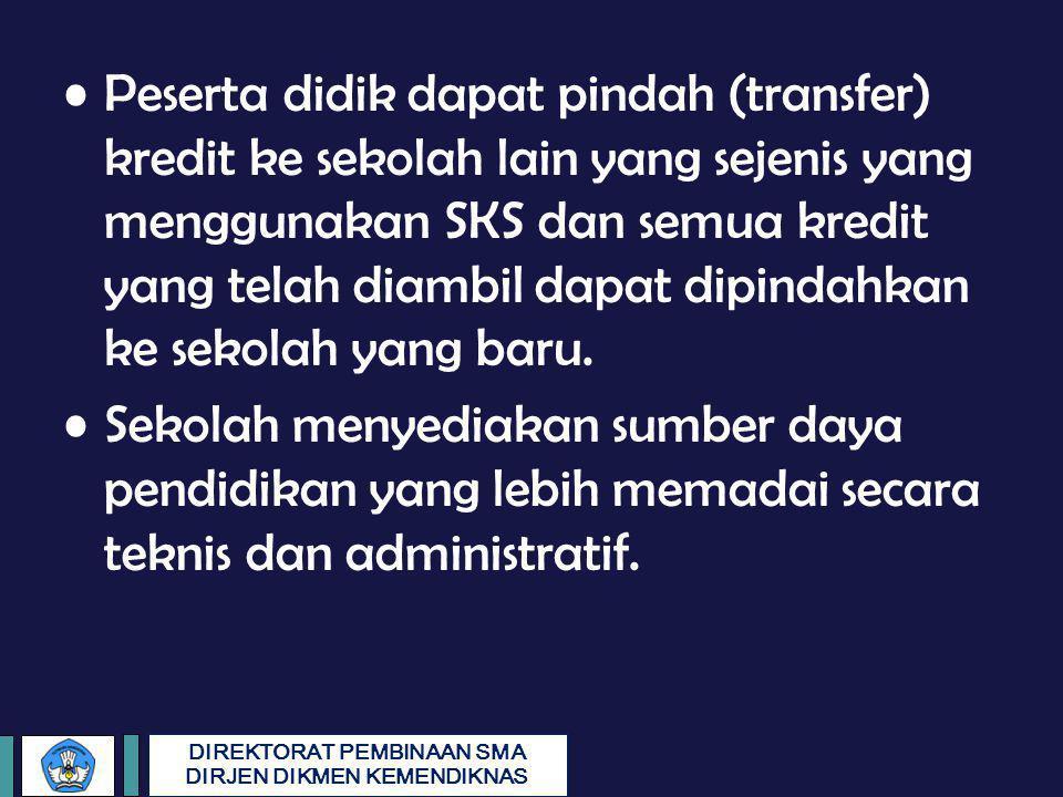 DIREKTORAT PEMBINAAN SMA DIRJEN DIKMEN KEMENDIKNAS Peserta didik dapat pindah (transfer) kredit ke sekolah lain yang sejenis yang menggunakan SKS dan