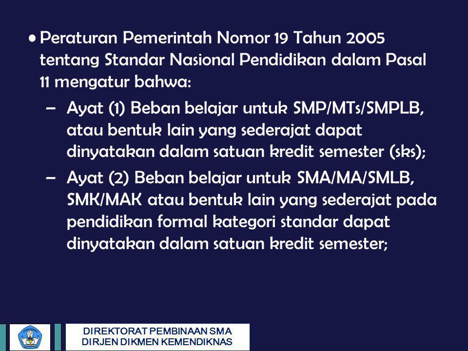 DIREKTORAT PEMBINAAN SMA DIRJEN DIKMEN KEMENDIKNAS Peraturan Pemerintah Nomor 19 Tahun 2005 tentang Standar Nasional Pendidikan dalam Pasal 11 mengatu