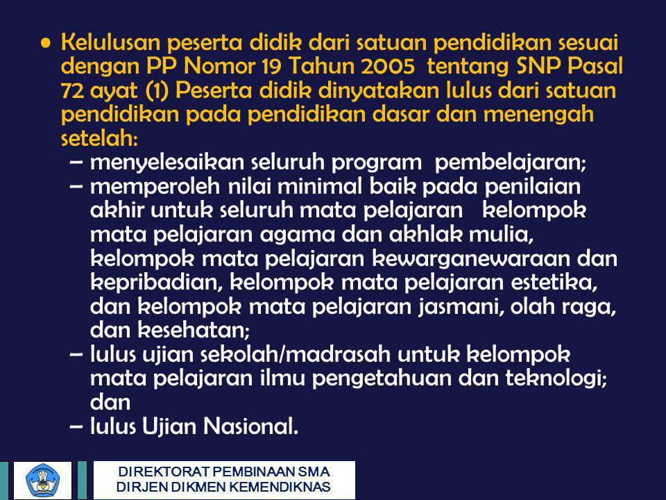 DIREKTORAT PEMBINAAN SMA DIRJEN DIKMEN KEMENDIKNAS Kelulusan peserta didik dari satuan pendidikan sesuai dengan PP Nomor 19 Tahun 2005 tentang SNP Pas