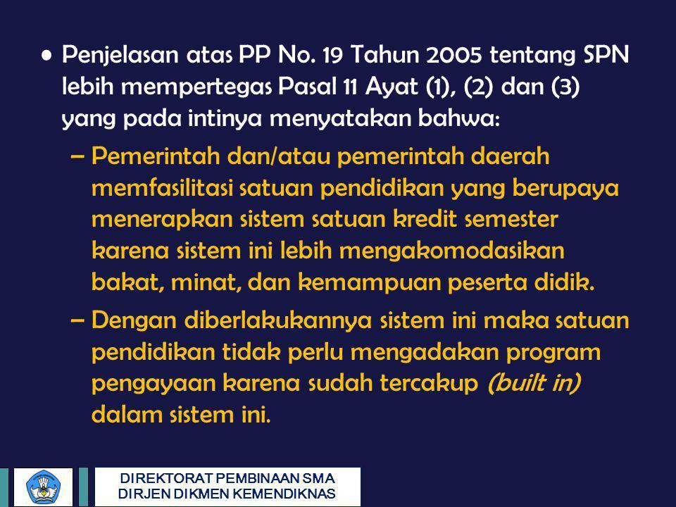 DIREKTORAT PEMBINAAN SMA DIRJEN DIKMEN KEMENDIKNAS Penjelasan atas PP No. 19 Tahun 2005 tentang SPN lebih mempertegas Pasal 11 Ayat (1), (2) dan (3) y
