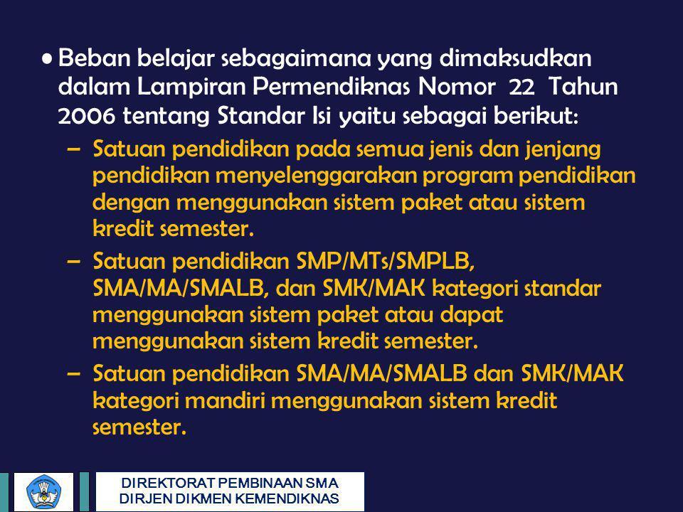 DIREKTORAT PEMBINAAN SMA DIRJEN DIKMEN KEMENDIKNAS Beban belajar sebagaimana yang dimaksudkan dalam Lampiran Permendiknas Nomor 22 Tahun 2006 tentang