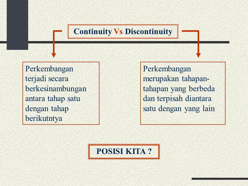 Continuity Vs Discontinuity Perkembangan terjadi secara berkesinambungan antara tahap satu dengan tahap berikutntya Perkembangan merupakan tahapan- ta