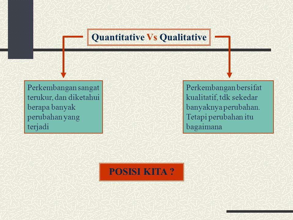 Quantitative Vs Qualitative Perkembangan bersifat kualitatif, tdk sekedar banyaknya perubahan. Tetapi perubahan itu bagaimana Perkembangan sangat teru