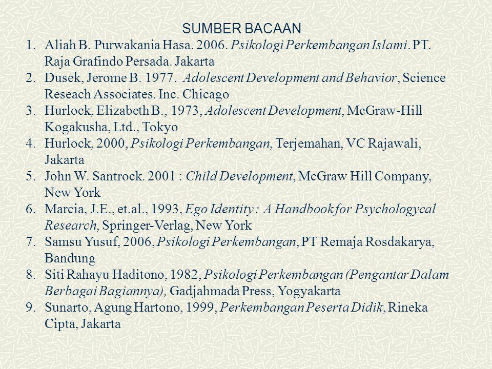 SUMBER BACAAN 1.Aliah B. Purwakania Hasa. 2006. Psikologi Perkembangan Islami. PT. Raja Grafindo Persada. Jakarta 2.Dusek, Jerome B. 1977. Adolescent