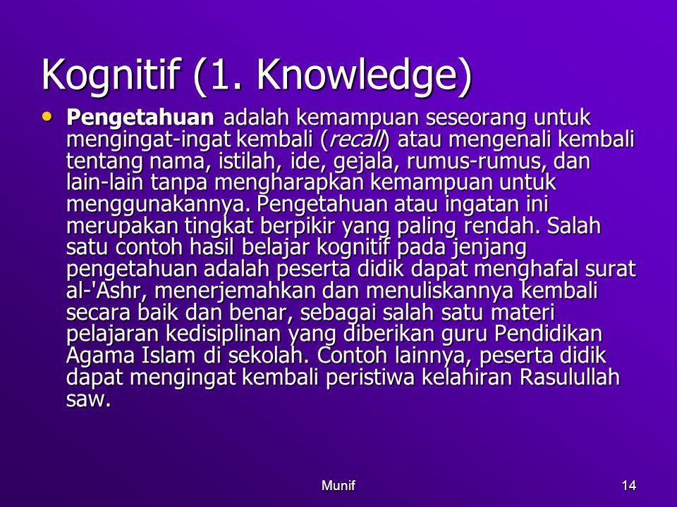 Munif14 Kognitif (1. Knowledge) Pengetahuan adalah kemampuan seseorang untuk mengingat-ingat kembali (recall) atau mengenali kembali tentang nama, ist