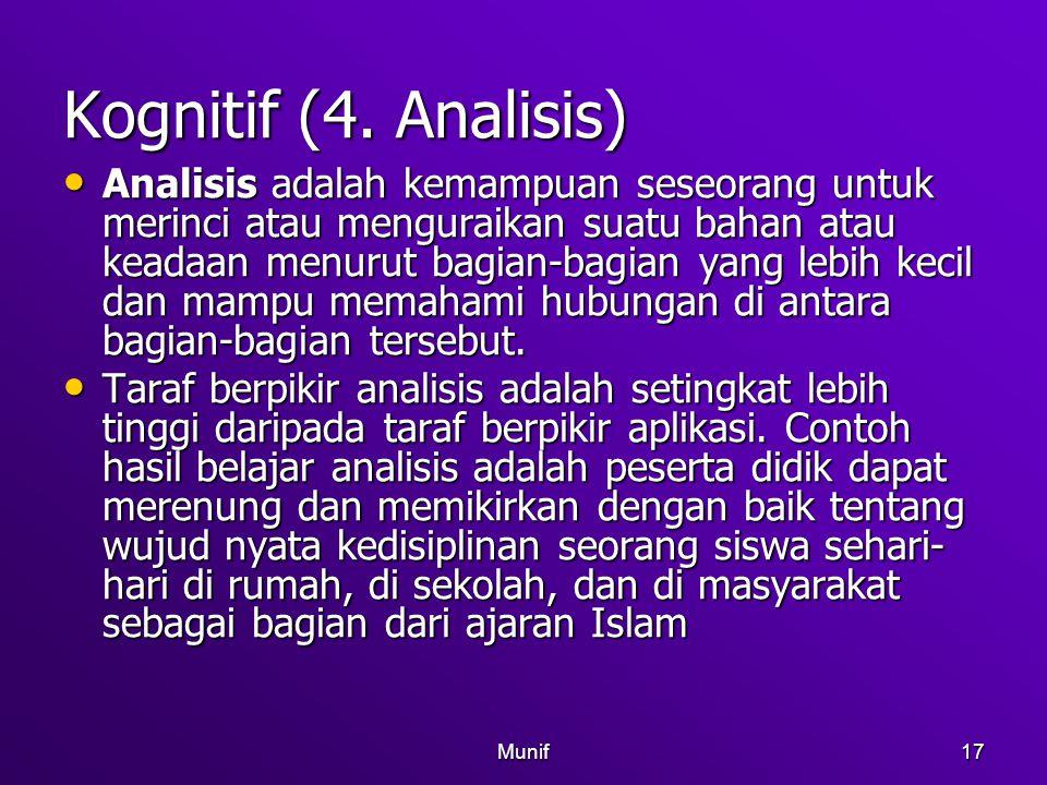 Munif17 Kognitif (4. Analisis) Analisis adalah kemampuan seseorang untuk merinci atau menguraikan suatu bahan atau keadaan menurut bagian-bagian yang