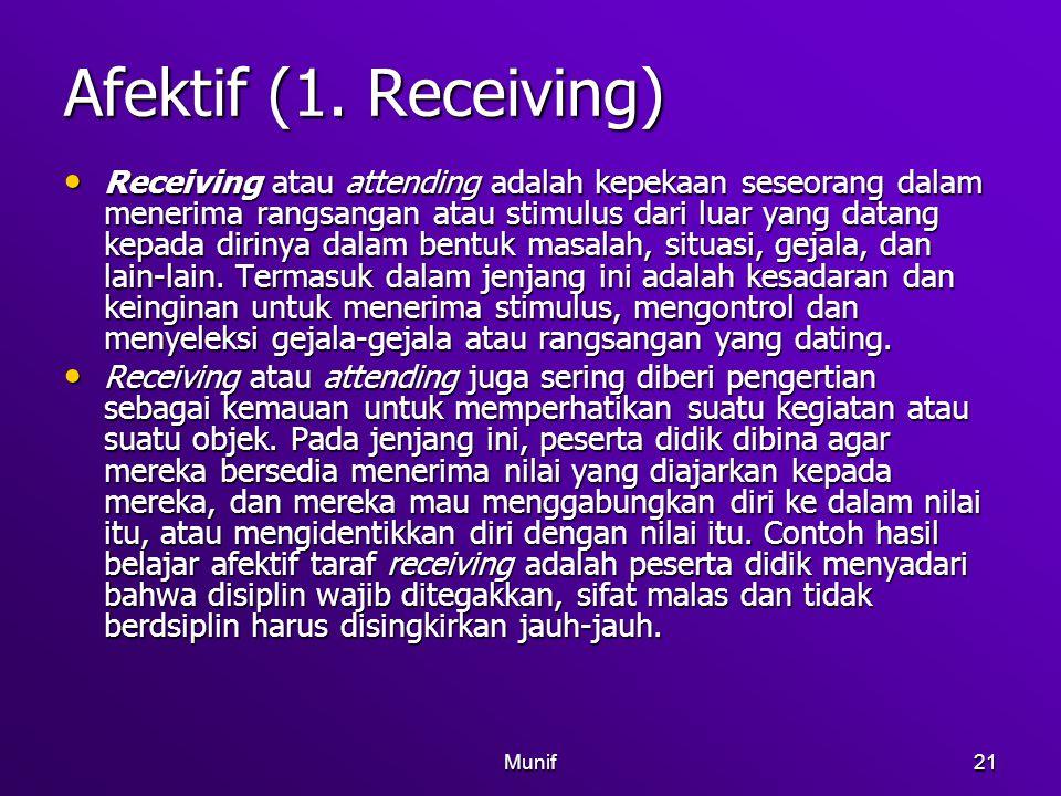 Munif21 Afektif (1. Receiving) Receiving atau attending adalah kepekaan seseorang dalam menerima rangsangan atau stimulus dari luar yang datang kepada
